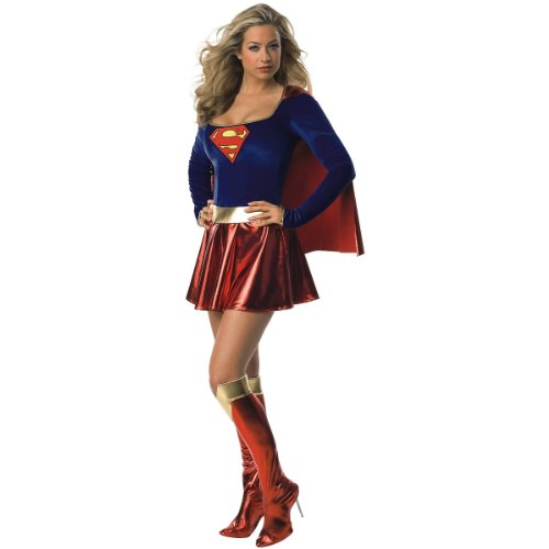 Superwoman Costumes For Women - Secret Wishes Adult Supergirl Costume, Red/Blue,
