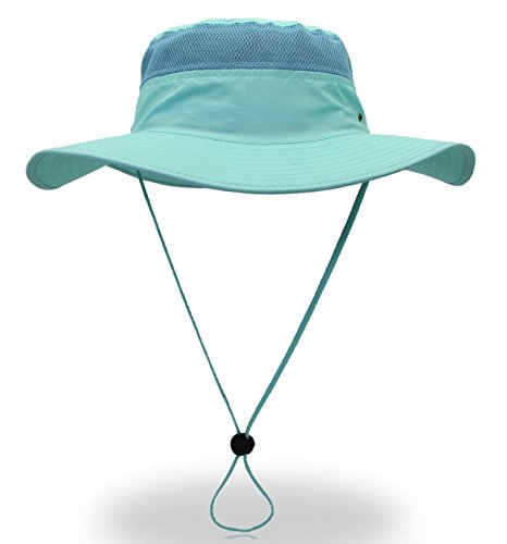 Home Prefer Men's Sun Hat UPF 50+ Wide Brim Bucket Hat Windproof Fishing Hats (Aqua) Aqua Bucket Hat