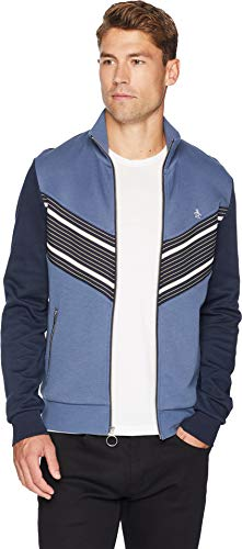 Jacket Crew Track (Original Penguin Men's Long Sleeve Track Jacket, Vintage Indigo Stripe, Extra Large)