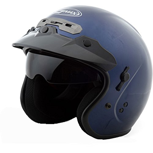 GMAX GM32 Open Face Street Motorcycle Helmet with Sunshield - Blue Large