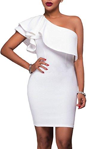 Cfanny Women Sleeveless Asymmetric Ruffled Sexy Bodycon Party Club Dress,White,XXL