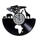Art League House Vinyl Clock Africa - Safari Animals Vinyl Record Wall Clock - South African Animal Figurines Handmade Decor for Home (Grey & Numbers)