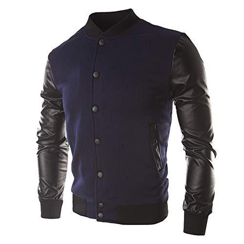 (Corriee Jacket Coat Men Fall Winter Athletic Leather Patchwork Sportswear Mens Button Outwear)