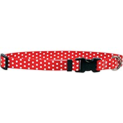 "Yellow Dog Design New Red Polka Dot Dog Collar, Small-3/4"" wide fits neck sizes 10 to 14"""
