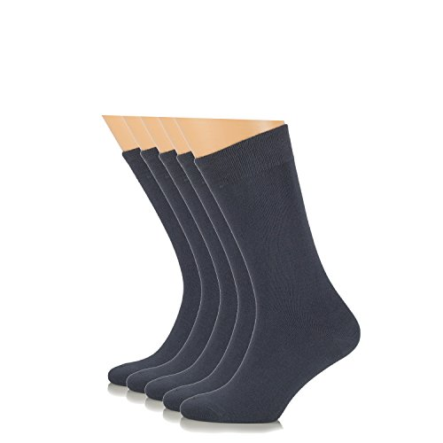 Elite Women's Business Casual Bamboo Socks, Crew Size (5 Pairs, European Product, Charcoal Gray)