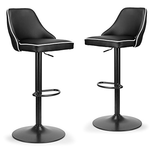 Set of 2 Alston Black Adjustable Height Swivel Bar Stool with White Piping