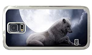 Hipster Samsung Galaxy S5 Case girly cover white wolf full moon PC Transparent for Samsung S5