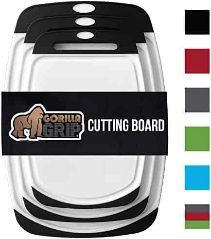 GORILLA GRIP Original Reversible Cutting Board (3-Piece), BPA Free, Dishwasher Safe, Juice Grooves, Larger Thicker Boards, Easy Grip Handle, Non-Porous, Extra Large, Kitchen (Set of Three: Black)