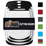 GORILLA GRIP Original Reversible Cutting Board (3-Piece), BPA Free, Dishwasher Safe, Juice Grooves, Larger Thicker Boards, Easy Grip Handle, Non Porous, Extra Large, Kitchen (Set of Three: Black)