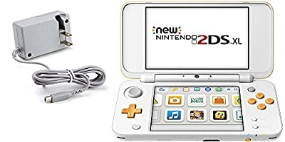 Nintendo 2DS Bundle (2 Items): Nintendo New 2DS XL - White + Orange and Tomee AC Adapter