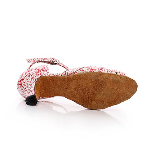 2 Danse Misu Salle Toe De Avec Rouge Salsa Bal De 2 Pratique Peep Latine Tango Sandales Chaussures Talon Femmes w4qAUOH
