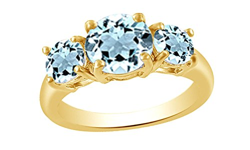 (Jewel Zone US Round Cut Simulated Aquamarine Three Stone Ring in 14k Gold Over Sterling Silver (1.72 Cttw))