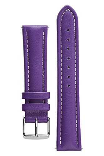 Bali Silver Bracelet Watch (Signature Bali Purple 16 mm Waterproof Watch Band Calf Leather Watch Strap Replacement Bracelet. Silver Buckle)