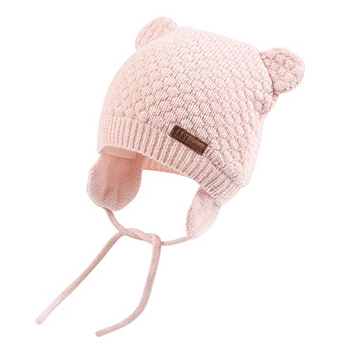 Faux Fur Baby Mittens - XIAOHAWANG Warm Baby Hat Cute Bear Toddler Earflap Beanie for Fall Winter (2-3Years, Pink)