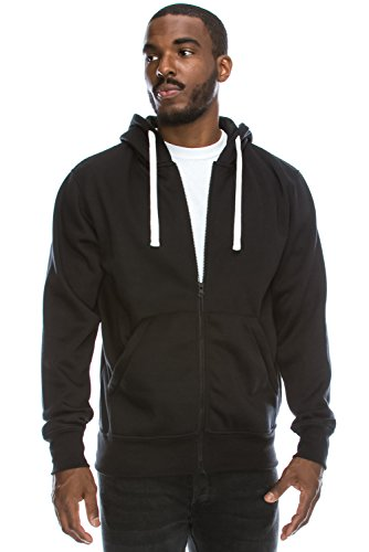Mens Hipster Hip Hop Basic Light Weight Zip-Up BLACK Hoodie Jacket X-Large