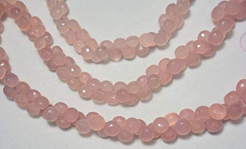 GemAbyss Beads Gemstone Pink Chalcedony Beads, Faceted Onion Beads, Chalcedony Onion, Gemstone Beads,7mm - 9mm, 4 Inches Strand Code-MVG-31329