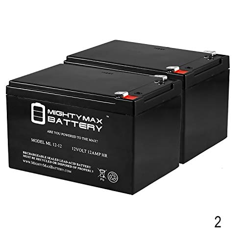 Mighty Max Battery 12V 12Ah F2 Scooter Battery for Enduring CB12-12, CB-12-12 - 2 Pack Brand Product