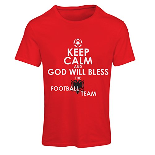 fan products of lepni.me N4468F T Shirts For Women God Will Bless The Albanian National Football Team (Large Red Multi Color)