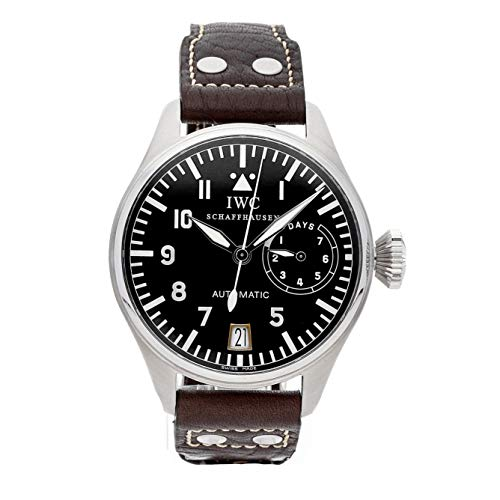 IWC Big Pilot's Watch SS Auto 46.2mm Black Arabic Dial Brown Calfskin Strap SS Deployant IW5002-01 (Certified (Mens Automatic Movement Date Indicator)