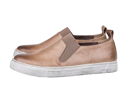 Loafers Santimon Elastic Fashion Sneaker Leather Mens Brown Penny Santimon Mens wHBOnIqP6