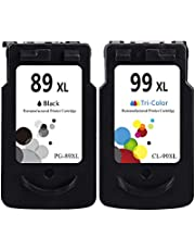 LEBOK Remanufactured Fine Cartridges for Canon PG-89XL CL-99XL Ink Cartridges Replacement for PG 89 CL 99 Ink Cartridges for Canon Pixma E560 Printer 1 Black 1 Tri-Color