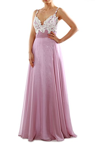 MACloth Women Straps Sweetheart Lace Chiffon Long Prom Dress Formal Evening Gown Marfil