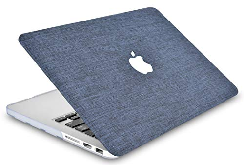 "KECC Laptop Case for MacBook Air 13"" w/Keyboard Cover Plastic Hard Shell Case A1466/A1369 2 in 1 Bundle (Navy Fabric)"