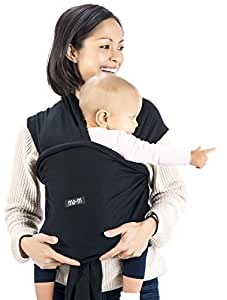 Mo+m Baby Wrap (Black) – Ultra Soft Infant Sling Child Carrier Keeps Your Baby Comfortable & Safe – 4 Different Carries – Cotton/Spandex Stretchy Wrap