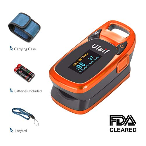 Ulaif Fingertip Pulse Oximeter, OLED Portable Oximetry Blood Oxygen Saturation Monitor SpO2 Finger Pulse Oximeter Readings with Carrying Case/Lanyard/Silicon Case/Batteries ()