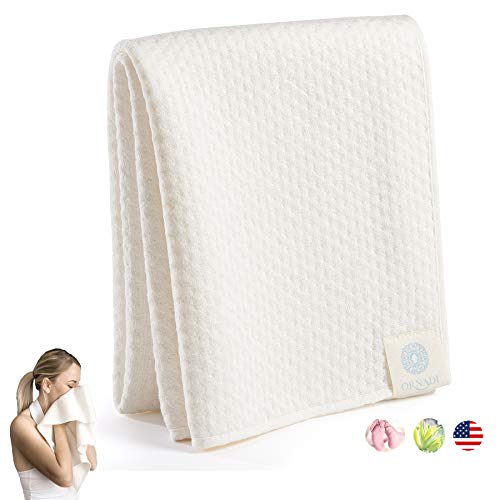 Bamboo Organic Cotton Ultra Soft Extra Absorbent Spa Towel Premium Personal Care for Face & Sensitive Skin Wash, Natural…