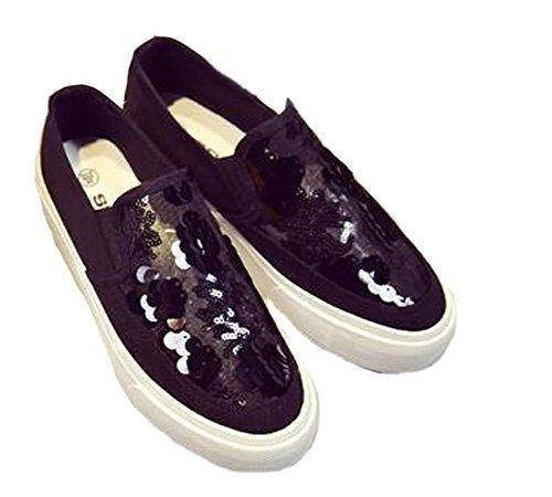 Vecjunia Shoestrainers Paljetter Pustende Svart Canvas Tilfeldige Damer Sko UWarHnU