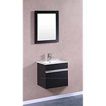 24 inch carina single vessel sink wall mounted modern bathroom vanity cabinet with glass top. Black Bedroom Furniture Sets. Home Design Ideas