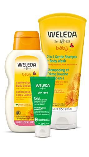 Weleda Mama and Baby Essentials 3-Piece Set: 2in1 Calendula Shampoo and Body Wash, Calendula Body Lotion, and Skin Food