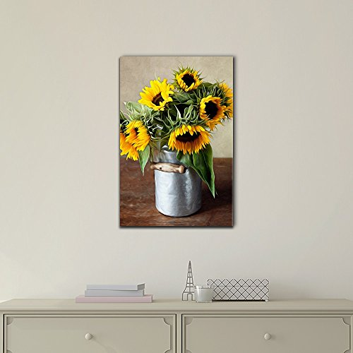 Still Life Illustration with Sunflowers in Oil Painting Style