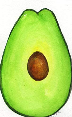 - Original Avocado watercolor painting of avocado, 5 x 7 kitchen wall art hand painted one of a kind, not a print