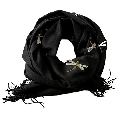 Bienvenu Dragonfly Detail Large Women Soft Cashmere Wool Wraps Shawls Stole Scarf,Dragonfly Style_Black