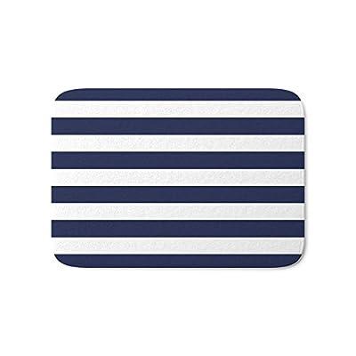 Society6 Stripe Horizontal Navy Blue Bath Mat