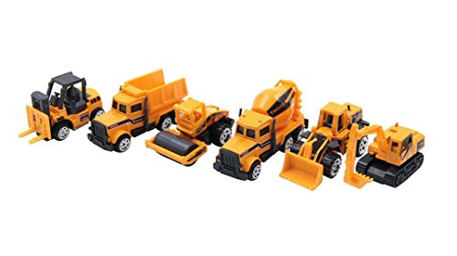XADP 6 Pcs Play Vehicles Construction Vehicle Truck Cars Toys Set,Friction Powered Push Engineering Vehicles Assorted Construction for Boys and Girls by XADP (Image #1)
