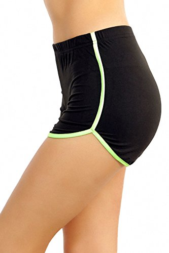 ToBeInStyle Women's Hot Shorts with Contrast Piping - Black/Neon Green - (Neon Green Piping)