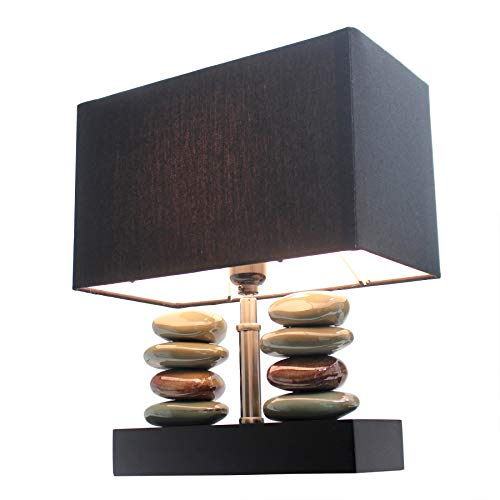 (Elegant Designs LT1036-BLK Rectangular Dual Stacked Stone Ceramic Table Lamp, 14.5