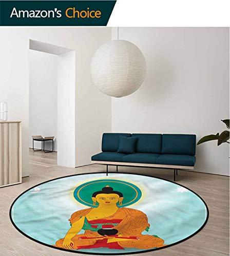 Dharma Wheel Round Area Rugs Super Soft Living Room,Asian Man Meditating Super Soft Living Room Bedroom Carpet Woman Yoga Mat Diameter-31