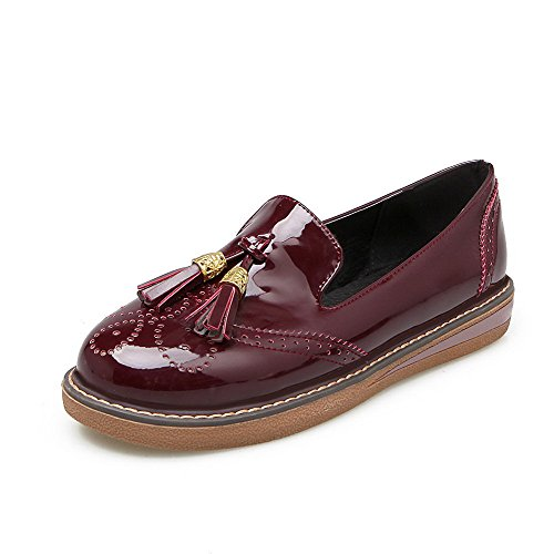Heels Claret Shoes Toe Low 40 PU Women's Solid Pumps Odomolor Round wqxPYUpPH