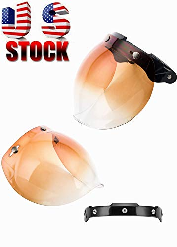 MotorFansClub 3-Snap Bubble Shield Visor Street Motorcycle Helmet Accessories with Removable Flip Adapter Universal (Brown, One Size)