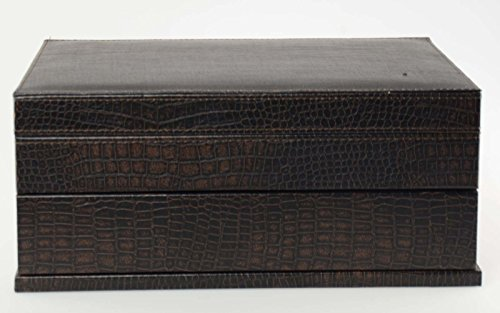 Top Quality Men's Black Leather Jewelry Box And Valet Storage Box Organizer by Bombay Brand (Image #4)