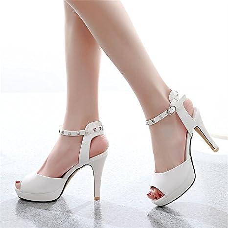GTVERNH-9-11cm super - tacchi a spillo sandali femmina impermeabile bocca di pesce primavera sexy in discoteca sottile corrisponde tutto superficiale bocca le scarpe 35 white