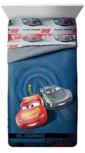 Disney/Pixar Cars 3 Movie Editorial Blue/Gray Twin/Full Reversible Comforter with Lightning McQueen & Jackson Storm (Official Disney/Pixar Product) ()