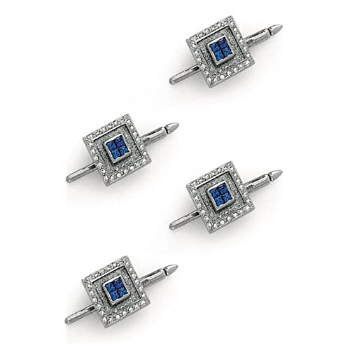 14K White Gold Diamond and Sapphire Shirt Stud Set-86297