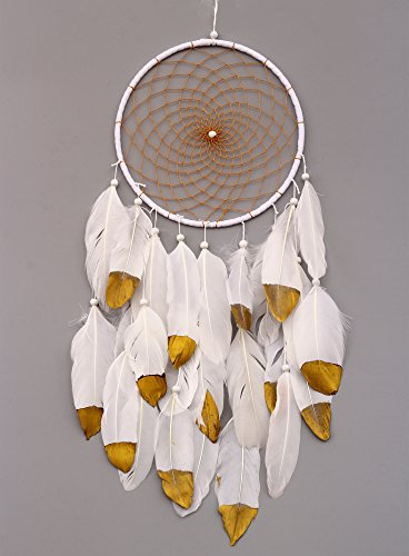 VGIA Handmade Dream Catcher with Feathers Wall Hanging Ornament Craft Gift, Gold -