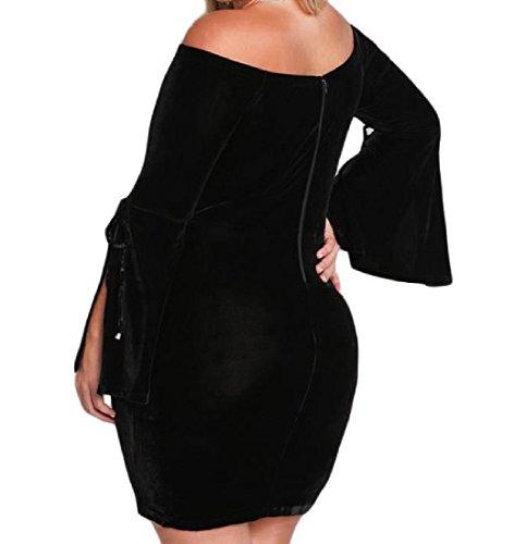 Col Bateau Velours D'or Des Femmes Coolred Solide Robe De La Hanche Paquet Surdimensionné Noir