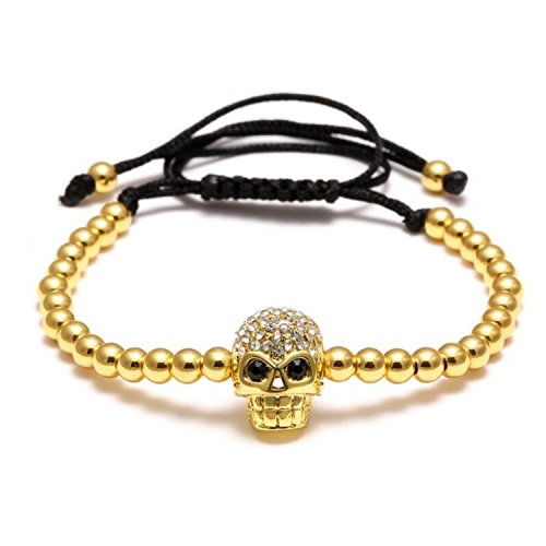 Uloveido Adjustable Skeleton Head Skull Bracelet Punk Metal Nugget Bead Charm Skull Cuff Bracelet Gifts for Father Men - Bracelet Mm 4 Nugget
